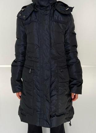 Пуховик синий длинный теплый , зимнее пальто пуховик.