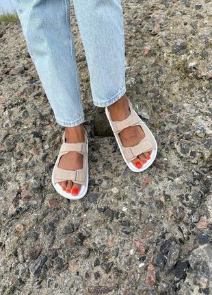 Сандали на липучках босоножки натуральная кожа тренд