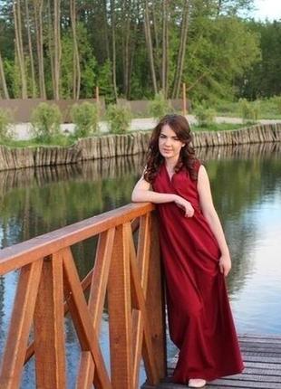 Красное бордовое вечернее платье в пол длинное марсала червона бордова вечірня сукня довга