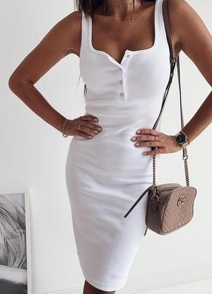 Женское базовое платье миди трикотаж рубчик