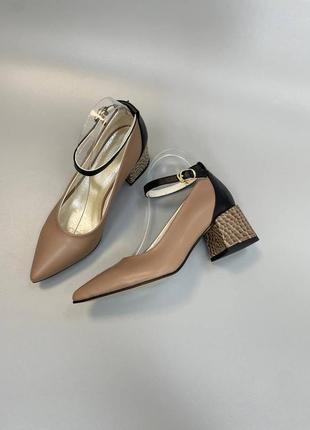 Туфли женские с ремешком натуральная кожа замша италия