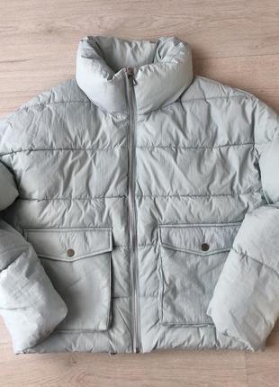 Новая куртка пуховик демисезонная курточка голубая серая
