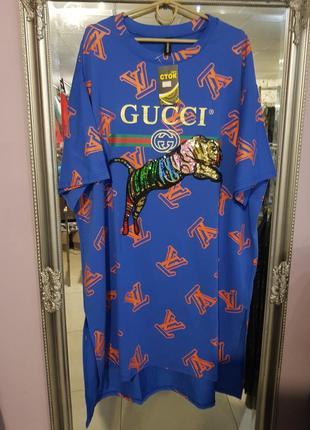 Крутое платье-футболка, туника настоящим модницам - оверсайз с 12 по 20 р-р