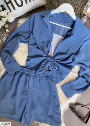 Костюмчик тройка - шорты + майка + рубашка