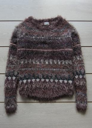 Мягкий пушистый свитер травка в орнамент от marks & spencer