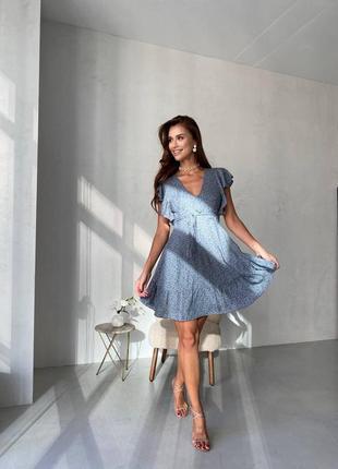 Платье в цветочек голубое