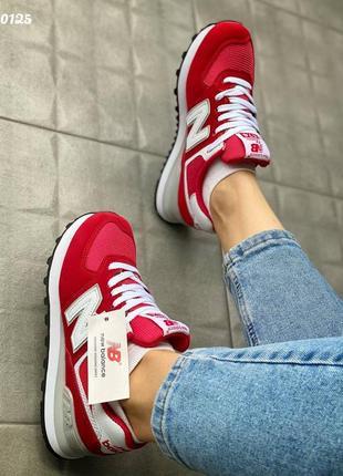 Кроссовки new balance 574 красные 0125
