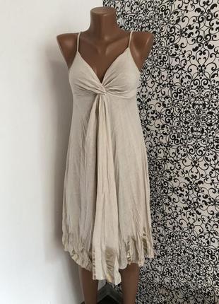 Летнее бежевое платье на тоненьких бретельках sisley