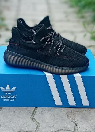 Мужские кроссовки adidas yeezy boost черные,сетка, рефлектив
