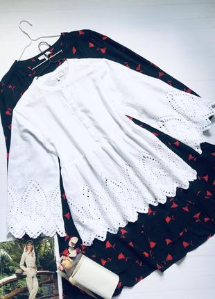 Блуза рубашка белая из прошвы большого размера