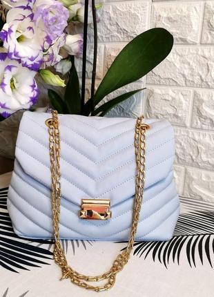 Голубая стёганая сумка через плечо сумочка клатч кроссбоди