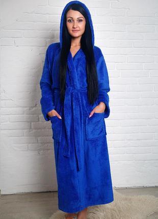 Женский махровый халат длинный электрик s-xl