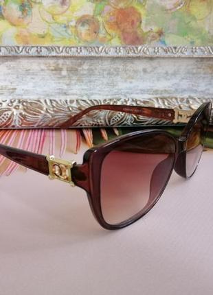 Эксклюзивные брендовые коричневые солнцезащитные женские очки кошечки 20215 фото