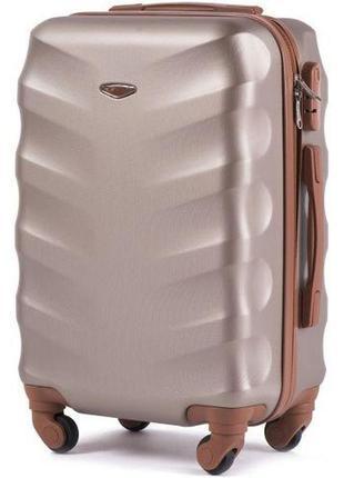 Чемодан дорожный (дорожная сумка) пластиковый на 4 колёсах маленький 402 s wings ( шампань )