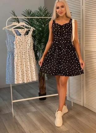 Летнее коттоновок платье в горошек , черное, голубое, белое