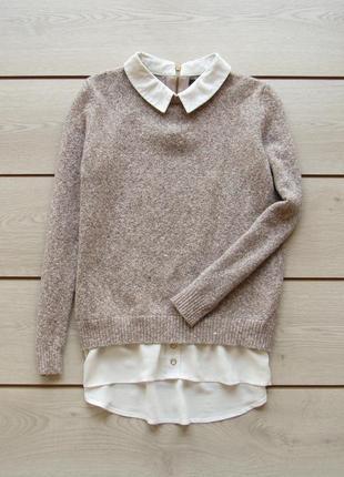 Стильный нежный теплый свитер с обманкой рубашки от atmosphere