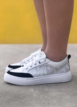 Кеды женские низкие белые christian sneakers white/black