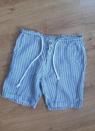 Летние льняные шорты в полоску италия