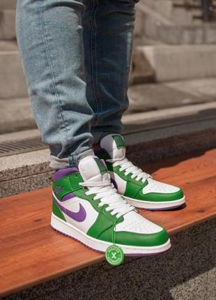 Мужские кроссовки nike air jordan 1 retro white/green