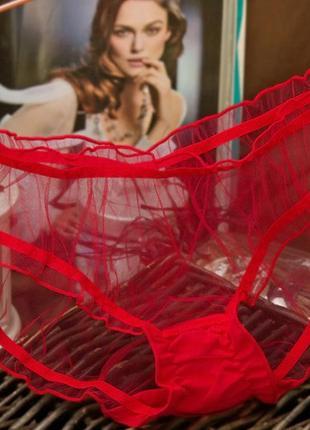 Трусики прозрачные, красная сеточка