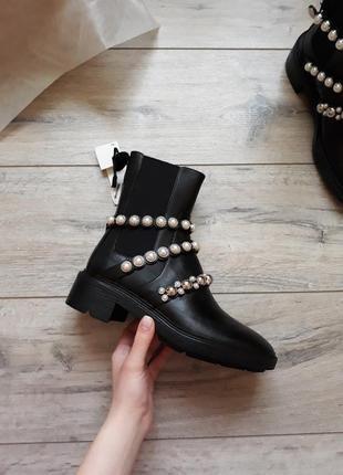 Кожаные ботинки zara с жемчугом, сапоги челси