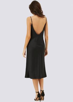 Платье комбинация с открытой спиной, черное
