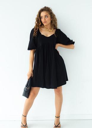 Летнее короткое платье оверсайз черное oversize свободное