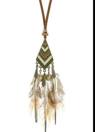 Кулон в стиле бохо шик, с натуральными перьями в стиле индейцев америки | инди хиппи орнамент эмаль цвет бронза