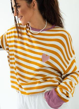 Полосатый свитшот кофта в полоску с вышивкой белый с оранжевым розовым толстовка  оверсайз oversize