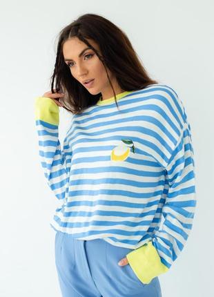 Полосатый свитшот кофта в полоску с вышивкой белый с голубым синим толстовка