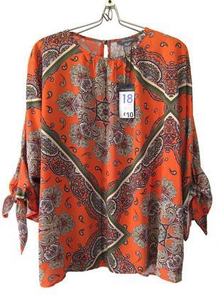 Красивая оранжевая блуза с принтом пэйсли р.18