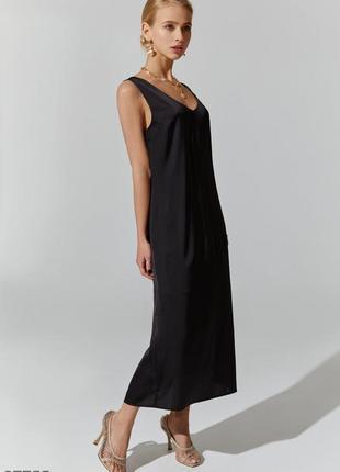 Чёрное шёлковое платье-комбинация