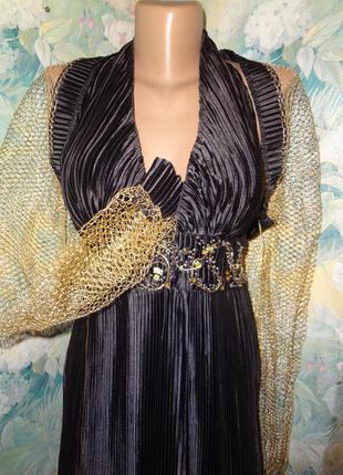 Длинное платье в пол р. м-l коричневое с болеро