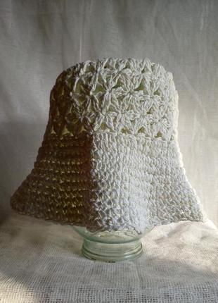 Шляпа панама женская вязаная 100% paper straw цвет белый