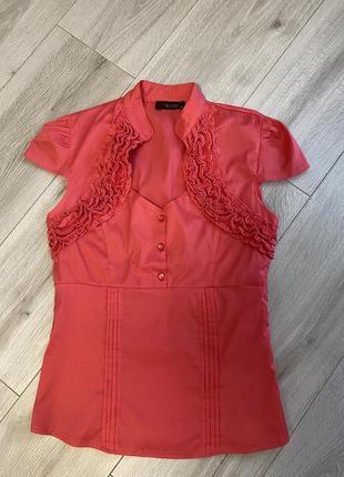 Блузка кораллового цвета kalicyi