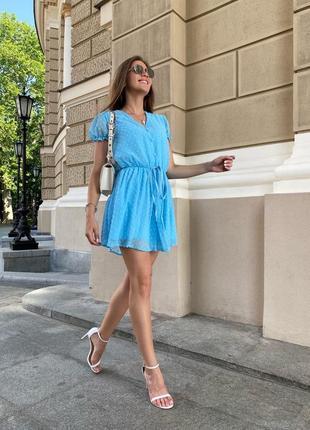 Комбинезон с шортами летний нарядный женский свободный легкий голубой
