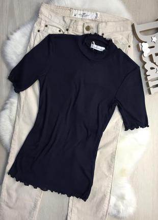 Темно синя футболка в рубчик з рукавчиками