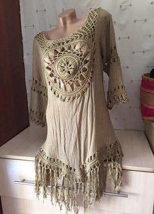 Итальянская туника на пляж с бахромой / блуза / платье с дырками