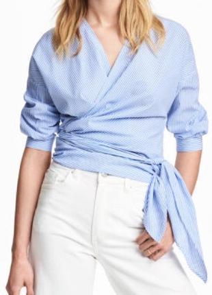 Рубашка блуза на запах в голубую полоску от h&m