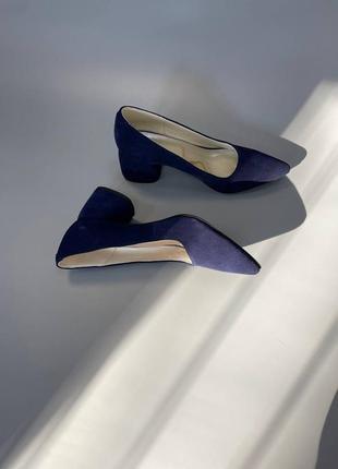 Туфли женские синие натуральная замша кожа италия