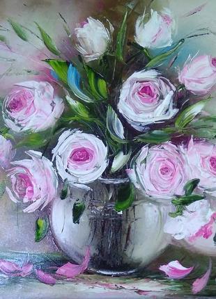 Картина «розы» масло живопись