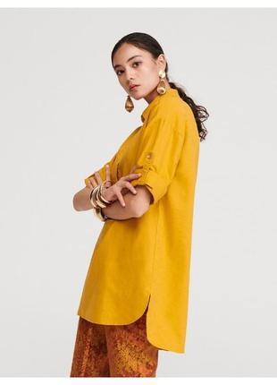 Удлиненная натуральная блуза рубашка туника,лён