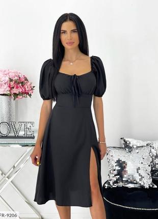 Платье миди с разрезом черное