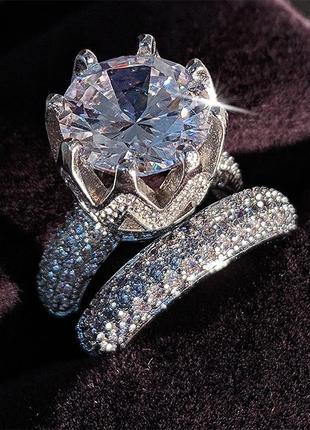 Комплект набор из двух колец невероятной красоты (кольцо фианиты цирконий)