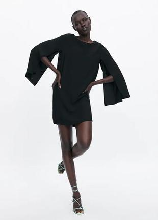 Черное платье-кейп zara