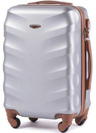 Чемодан дорожный (дорожная сумка) пластиковый на 4 колёсах большой 402 l wings (серебристый/silver)