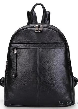 Top☝️красивый женский кожаный рюкзак на два отделения чёрный сумка городская жіночий рюкзак натуральна шкіра
