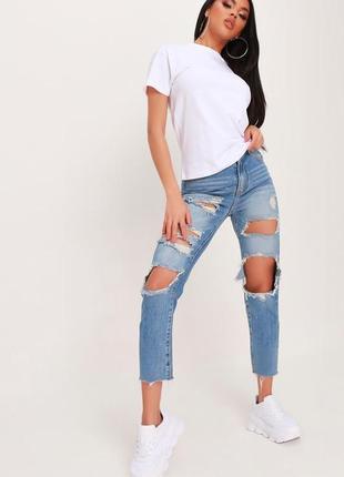 Isawitfirst. aнглия.джинсы бойфренды mom с шикарным оформлением дизайнерских порезов.