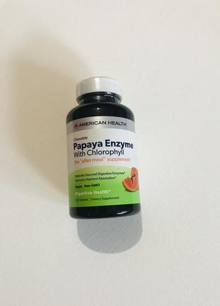 Энзим папайи с хлорофиллом, american health, 250 жевательных таблеток