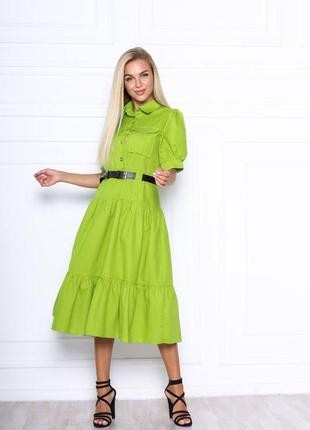 Льняное летнее миди платье сарафан рубашка воротник стойка ок